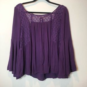 Entro Purple Lace Inset Top